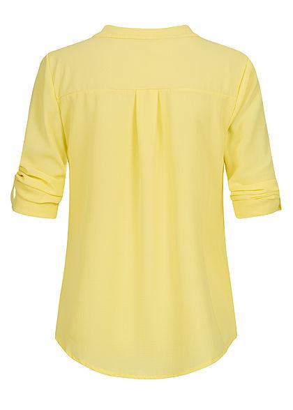 Styleboom Fashion Damen V-Neck Turn-Up Bluse Vokuhila hell gelb
