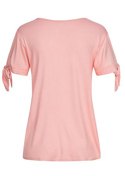 Styleboom Fashion Damen T-Shirt mit Knotenärmel Pusteblumen Print rosa