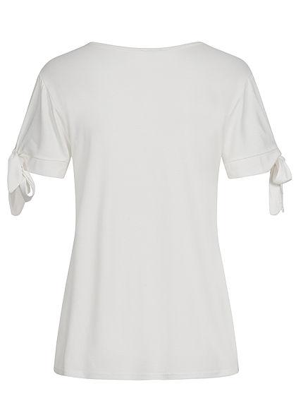 Styleboom Fashion Damen T-Shirt mit Knotenärmel Pusteblumen Print weiss