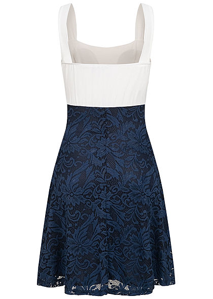Styleboom Fashion Damen 2-Tone Mini Spitzen Kleid 2-lagig navy blau weiss