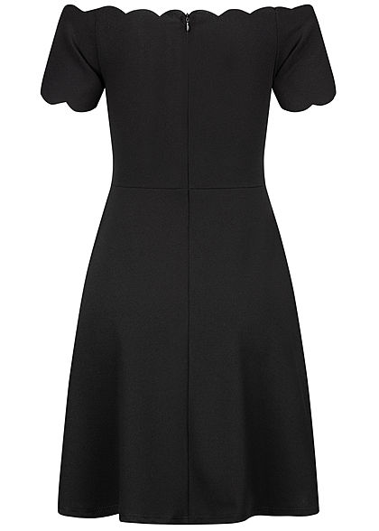 Styleboom Fashion Damen Off-Shoulder Mini Kleid Zipper hinten schwarz