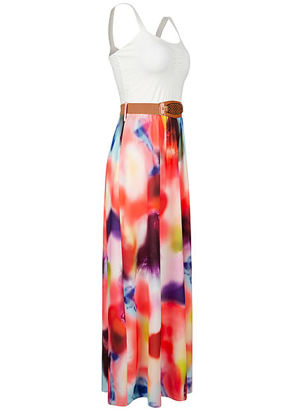 Styleboom Fashion Damen Maxi Kleid inkl. Gürtel washed Batic Print weiss mc