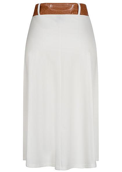 Styleboom Fashion Damen Longform Rock inkl. Gürtel Deko Knopfleiste weiss