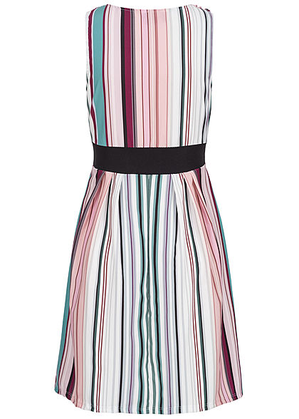 Styleboom Fashion Damen V-Neck Mini Kleid Streifen Muster multicolor