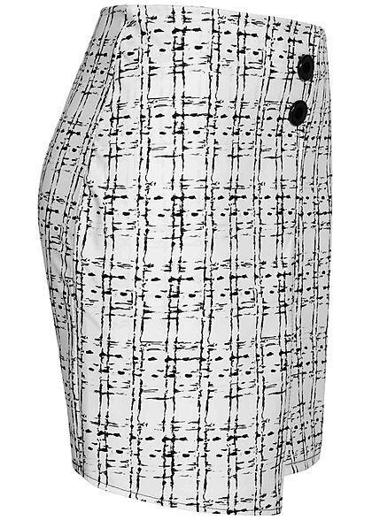 Styleboom Fashion Damen Mini Wickelrock Karo Muster Zipper hinten weiss schwarz