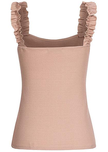 Styleboom Fashion Damen Ribbed Top mit Rüschen Träger rosa