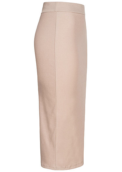 Styleboom Fashion Damen Ribbed Longform Rock beige