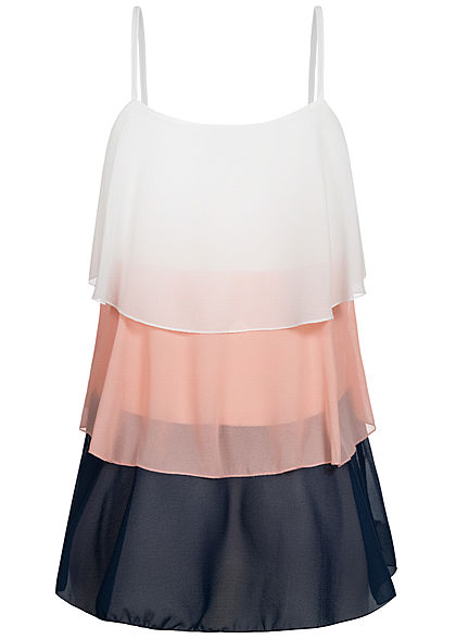 Styleboom Fashion Damen Colorblock Stufen Träger Top weiss rosa navy blau