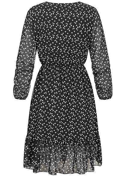 Styleboom Fashion Damen V-Neck Chiffon Kleid Blumen Print 2-lagig schwarz weiss