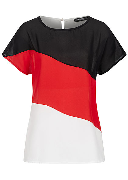Styleboom Fashion Damen1 Colorblock Blusen Shirt schwarz rot weiss