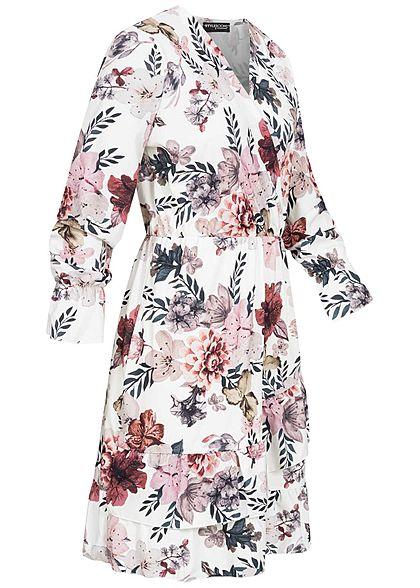 Styleboom Fashion Damen V-Neck Volant Kleid Blumen Print Wickeloptik weiss rot