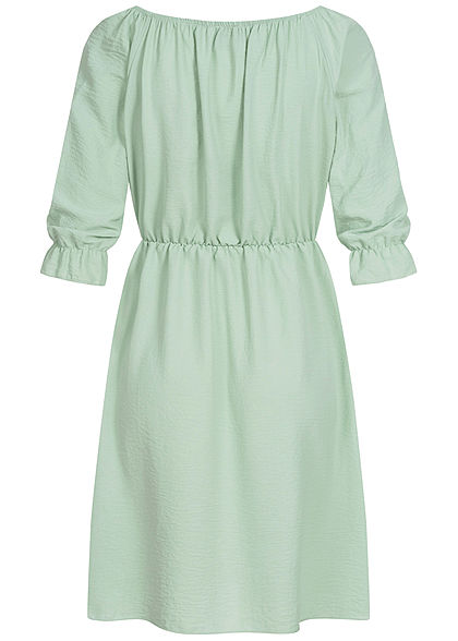 Styleboom Fashion Damen Mini Kleid Deko Knopfleiste mint grün