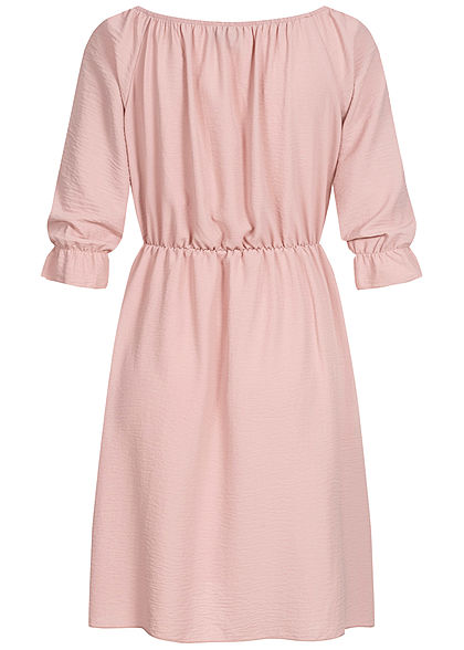 Styleboom Fashion Damen Mini Kleid Deko Knopfleiste rosa