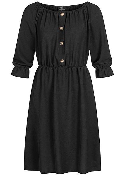 HAILY/'S Kleid Minikleid Gr L 40 schwarz bunt Chiffonkleid Blumen Print