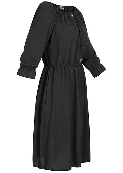 Styleboom Fashion Damen Mini Kleid Deko Knopfleiste schwarz