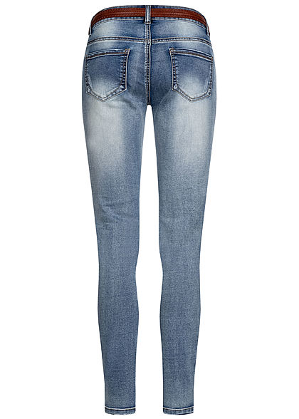 Seventyseven Lifestyle Damen Jeans Skinny 5-Pockets inkl. Gürtel Destroy Look m. blau d.