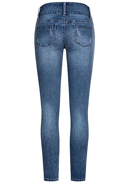 Seventyseven Lifestyle Damen Jeans Skinny Hose 5-Pockets breiter Bund dunkel blau denim