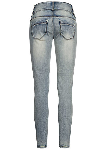 Seventyseven Lifestyle Damen Jeans Skinny Hose 5-Pockets Destroy Look medium blau den