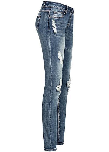 Seventyseven Lifestyle Damen Jeans Skinny Hose 5-Pockets Destroy Look dunkel blau denim