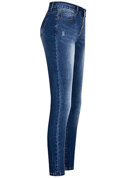 Seventyseven Lifestyle Damen Jeans Hose High-Waist Skinny 5-Pockets dunkel blau denim