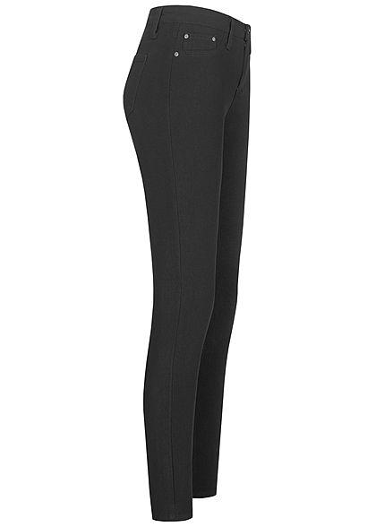 Seventyseven Lifestyle Damen Skinny Jeggings Hose 2 Deko Taschen High-Waist schwarz