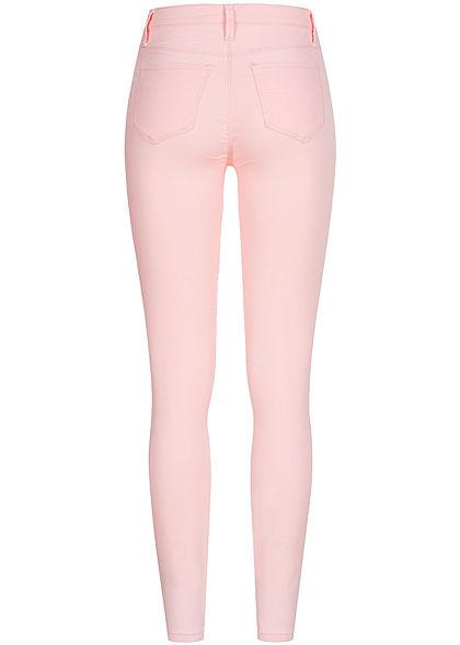 Seventyseven Lifestyle Damen Skinny Jeggings Hose 2 Deko Taschen vorne pink rosa denim