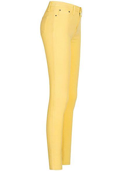 Seventyseven Lifestyle Damen Skinny Jeggings Hose 2 Deko Taschen vorne sun gelb denim