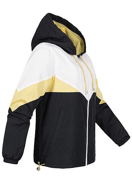 Seventyseven Lifestyle Damen Colorblock Windjacke Kapuze 2-Pockets gelb schwarz weiss