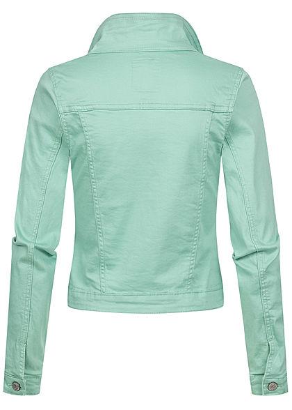 Seventyseven Lifestyle Damen kurze Jeans Jacke Knopfleiste 4-Pockets mint grün