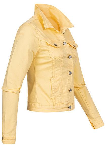 Seventyseven Lifestyle Damen kurze Jeans Jacke Knopfleiste 4-Pockets gelb