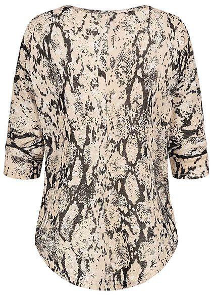 Seventyseven Lifestyle Damen 3/4 Arm Oversized Shirt Schlangenhaut Muster beige