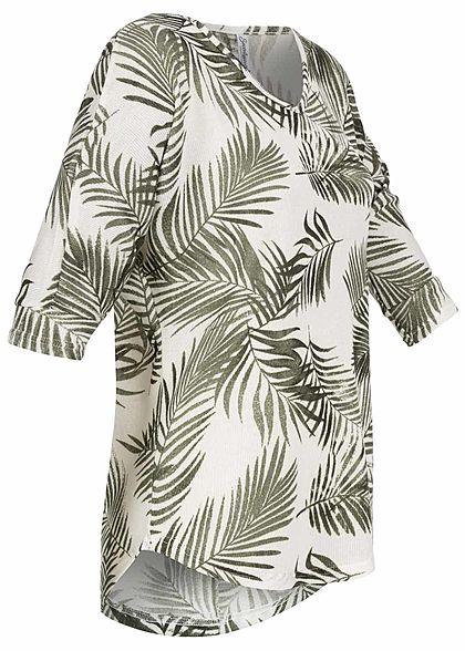 Seventyseven Lifestyle Damen 3/4 Arm Oversized Shirt Florales Muster oliv beige