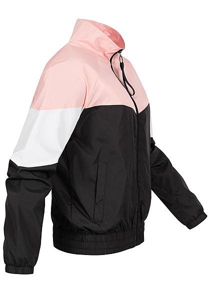 Seventyseven Lifestyle Damen Colorblock Windjacke 2-Pockets Stehkragen rosa weiss schwarz