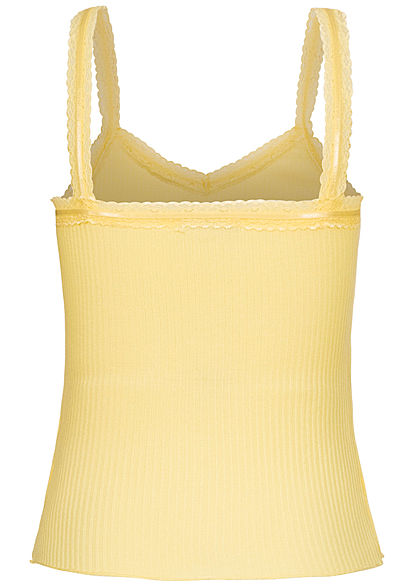 Seventyseven Lifestyle Damen Ribbed V-Neck Spitzen Top kurzer Schnitt hell gelb