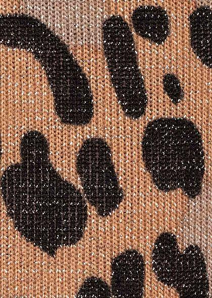 Seventyseven Lifestyle Damen Lurex T-Shirt Leo Print braun schwarz