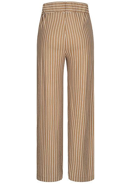 Hailys Damen Stoffhose 2-Pockets Streifen Muster Bindedetail beige braun weiss