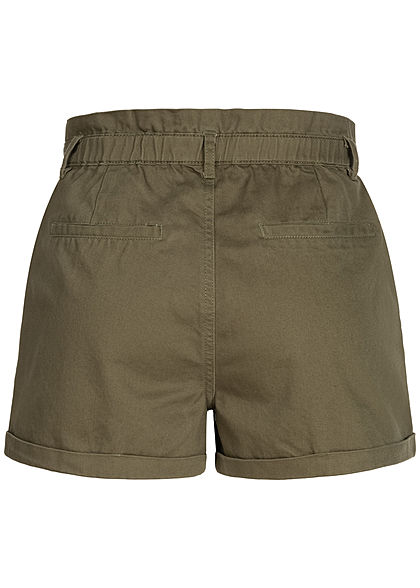ONLY Damen Paperbag Jeans Shorts 2-Pockets High-Waist kalamata oliv grün
