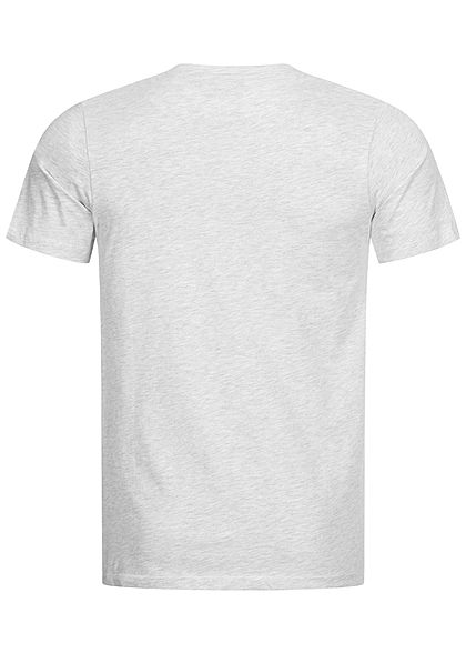 Jack and Jones Herren T-Shirt Logo Print Slim Fit weiss grau melange