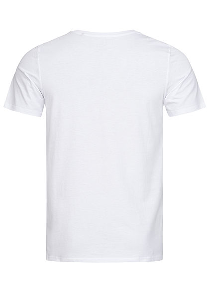 Jack and Jones Herren NOOS O-Neck T-Shirt Logo Print weiss blau