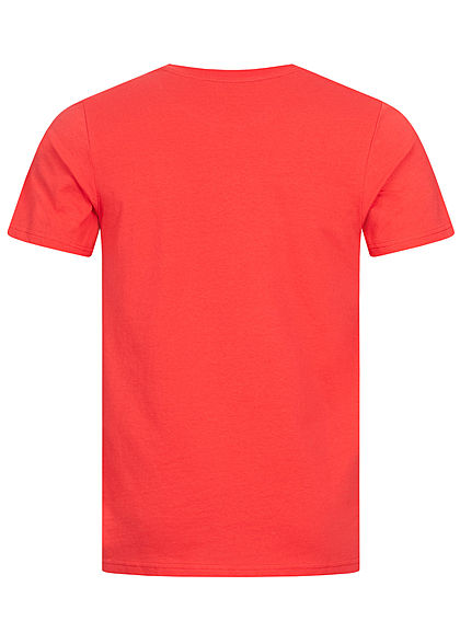 Jack and Jones Herren Crew Neck 2-Tone T-Shirt Logo Print bittersweet rot
