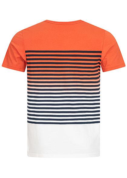 Jack and Jones Herren 2-Tone T-Shirt Brusttasche Streifen Muster chilli rot