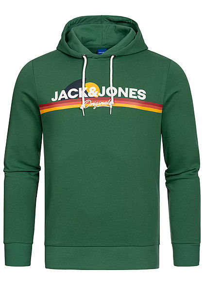 Jack and Jones Herren Hoodie Kapuze Logo Print Streifen fir grün