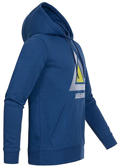 Jack and Jones Herren Hoodie Kapuze Kängurutasche Logo Print peony navy blau