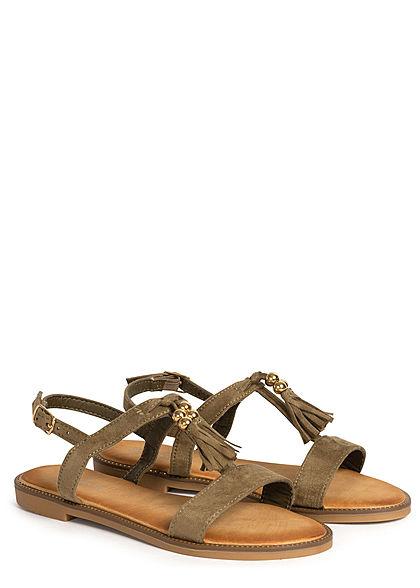Seventyseven Lifestyle Damen Schuh Sandale Kunstleder Velour Optik khaki grün