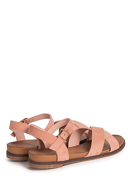 Seventyseven Lifestyle Damen Schuh Kunstleder Sandale Kreuzung vorne pink rosa