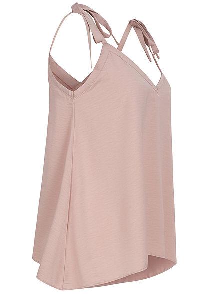 Vero Moda Damen V-Neck Satin Top Schleife am Träger shadow gray rosa