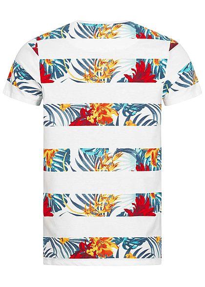 Hailys Herren T-Shirt Floraler Jungle Print Streifen weiss mc