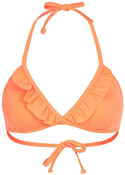 ONLY Damen Brazilian Triangel Bikini Top mit Rüschen cantaloupe orange - Art.-Nr.: 20041690