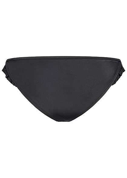 ONLY Damen Brazilian Bikini Slip mit Rüschen seitlich schwarz