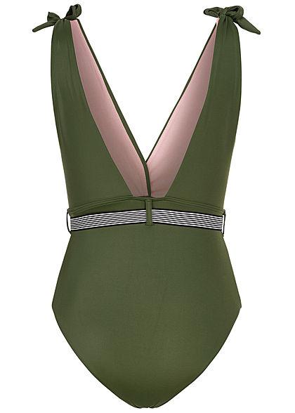 ONLY Damen Brazilian V-Neck Badeanzug Swimsuit mit Kontrastgürtel rifle grün